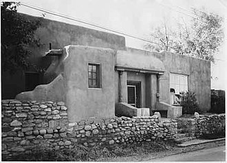 Art colony - Artist Gerald Cassidy's home in Santa Fe, circa 1937. Cassidy was a founding member of the Santa Fe art colony in the early 20th century.
