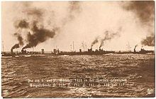 The German Seventh Half Flotilla cruising at sea consisting of five torpedo boats one of which did not take place at the Battle off Texel