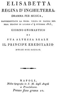 Página de título del libreto, Nápoles 1815