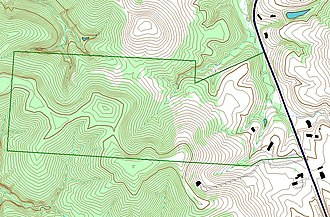 Geographic information system -  An example of use of layers in a GIS application. In this example, the forest-cover layer (light green) forms the bottom layer, with the topographic layer (contour lines) over it. Next up is a standing water layer (pond, lake) and then a flowing water layer (stream, river), followed by the boundary layer and finally the road layer on top. The order is very important in order to properly display the final result. Note that the ponds, layered under the streams, so that a stream line can be seen overlying one of the ponds.