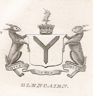 Earl of Glencairn - Arms of the Earls of Glencairn as recorded in Brown's Peerage, 1834