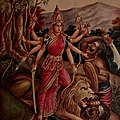 Goddess Durga- Early 1900 print Durga is depicted in the Hindu pantheon as a Goddess riding a lion and with many arms, each carrying a weapon to defeat Mahishasura or the buffalo demon.jpg