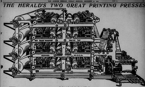 Rotary printing press - Goss quadruple straightline printing press, 1905