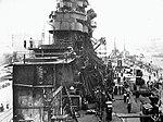 Grainy but interesting shot of USS Franklin (CV-13) in drydock, New York, 1945..jpg