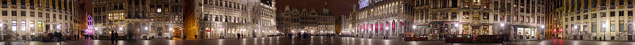 The Grand Place is the main market square in Brussels. It is one of UNESCO's World Heritage Sites. The construction of the Brussels Town Hall in the middle was initiated in 1402.