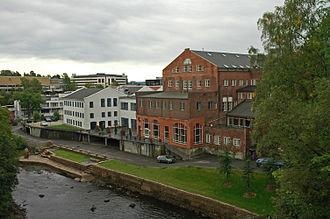 Lysaker - Sections of Lysaker viewed from the bridge over Granfossen, Lysaker