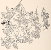 Drawing copied from painting. Prince riding horse, which is lifted by four figures with crowns on their head, and surrounded by another four figures with crowns, some of them with half-animal, half-human faces.