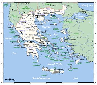 carte des îles grecques