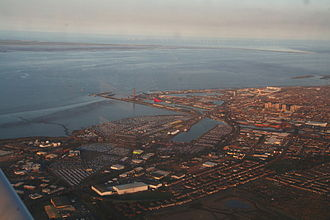 Grimsby - Aerial view over Grimsby Docks and Humber Estuary to Spurn Point