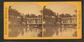 Group at unidentified resort, including people in row boat, on dock, African American man holding horse, from Robert N. Dennis collection of stereoscopic views.png