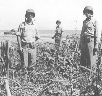 Matanikau Offensive - U.S. Marine Colonel Merritt Edson (left), photographed near the mouth of the Matanikau a few days before the November offensive