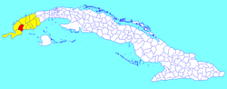 Guane municipality (red) within Pinar del Río Province (yellow) and Cuba