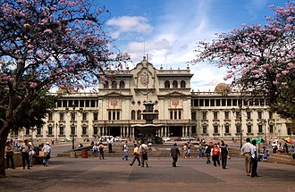 "National Palace (Guatemala) - A view of the National Palace from the ""Parque Central"" in Guatemala City"
