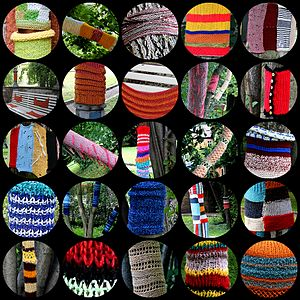 A montage of knitted tree wraps