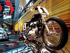 The Art of the Motorcycle - Undulating ramps built in Las Vegas created a lively effect, while in New York the motorcycles followed a sloping, spiral ramp.