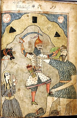 "Georgian mythology - ""Tarielis shebma devebtan"". A miniature by Mamuka Tavakalashvili from the manuscript of Shota Rustaveli's ""Knight in the Panther's Skin"". H599. 199r. National Center of Manuscripts, Tbilisi, Georgia"