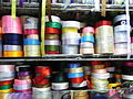 HK CWB Jardine's Crescent outdoor market stall goods colorful ribbons Aug-2012.JPG