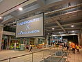 HK Sheung Wan PMQ mall Hollywood Road night courtyard big TV set screen May-2014.JPG