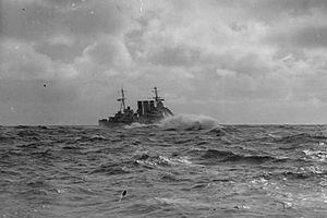 HMS Berwick (65) - HMS Berwick, underway off the Norwegian coast, water crashing over her bows