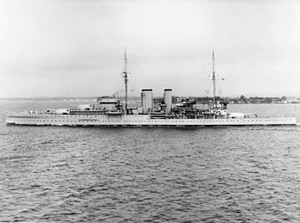 HMS Exeter (68) - Image: HMS Exeter (68) off Coco Solo c 1939