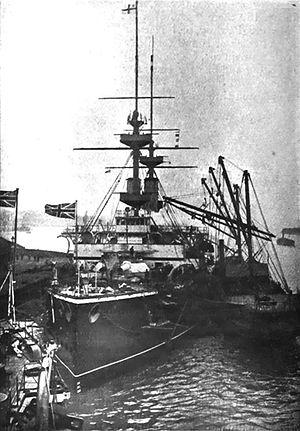 HMS Majestic (1895) - Majestic being coaled circa 1904