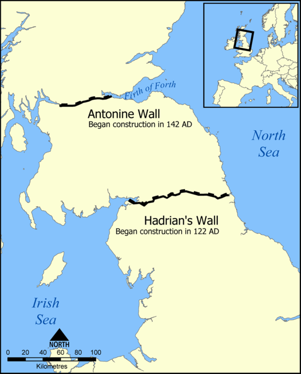 Map showing the location of Hadrian's Wall and the Antonine Wall in Scotland and Northern England Hadrians Wall map.png