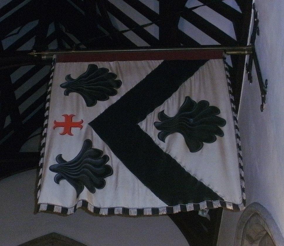 Hagley, St John the Baptist - interior, 1st Visc Chandos%27 Garter Banner - photo 2 cropped