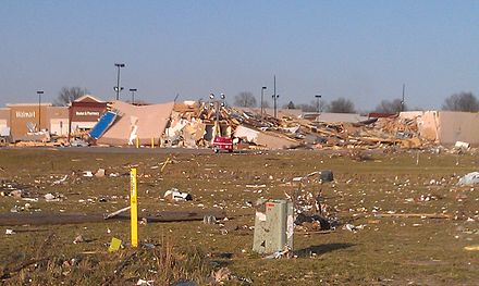 Destroyed shopping center in Harrisburg in the wake of the Tornadoes