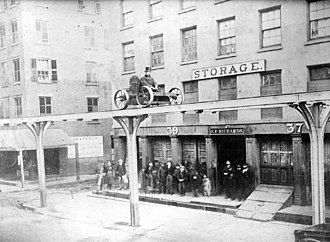 History of the New York City Subway - Charles Harvey demonstrating his elevated railroad design on Greenwich Street in 1867