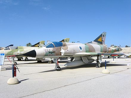 An Israeli Air Force Mirage IIIC. Flag markings on the nose credit this particular aircraft with 13 aerial kills. Hatzerim Mirage 20100129 1.jpg