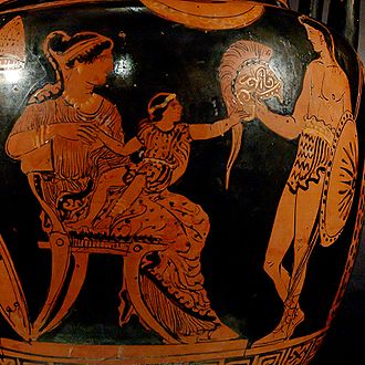 Hector - Hector's last visit with his wife, Andromache, and infant son Astyanax, startled by his father's helmet (Apulian red-figure vase, 370–360 BC)