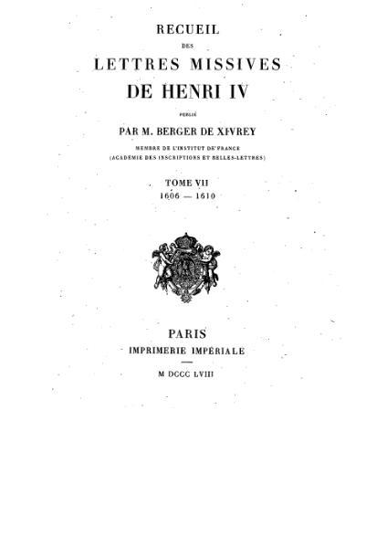 File:Henri IV - Lettres Missives - Tome7.djvu