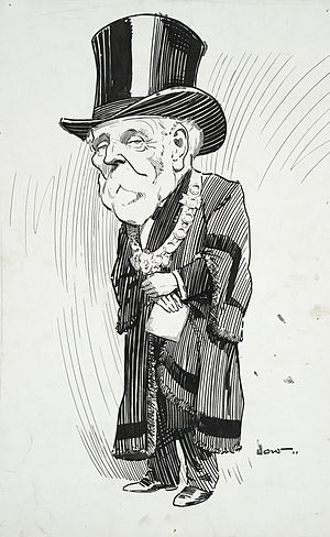 Henry Holland (mayor) - Holland with cloak and mayoral chain; cartoon by David Low