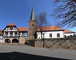 City hall and protestant church in Heuchelheim