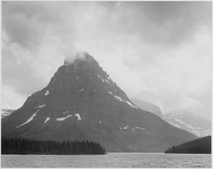 "High, lone mountain peak, lake in foreground, ""Two Medicine Lake. Glacier National Park,"" Montana., 1933 - 1942 - NARA - 519865.tif"