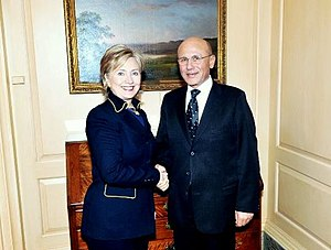 Foreign relations of Northern Cyprus -  U.S. Secretary of State Hillary Clinton and Turkish Republic of Northern Cyprus President Mehmet Ali Talat in Washington, DC.,15 April 2009.