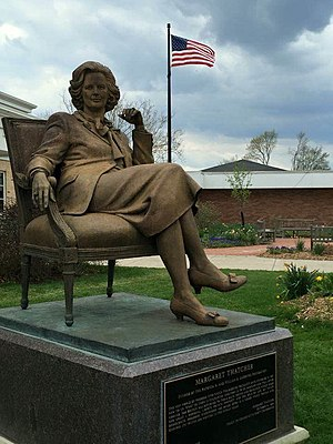 "Cultural depictions of Margaret Thatcher - A statue of Margaret Thatcher on the ""Liberty Walk"" on the campus of Hillsdale College. It is the only statue of Thatcher in North America."