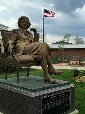 """Cultural depictions of Margaret Thatcher - A statue of Margaret Thatcher on the """"Liberty Walk"""" on the campus of Hillsdale College. It is the only statue of Thatcher in North America."""