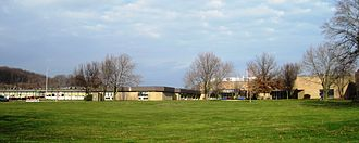 Holmdel High School - Front of the school as seen from Crawfords Corner Road