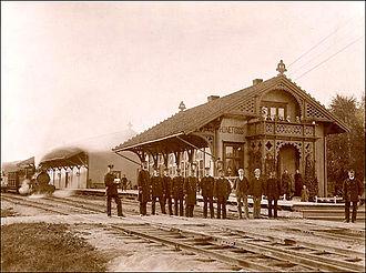 Randsfjorden Line - Image: Honefoss stasjon 1900 corr
