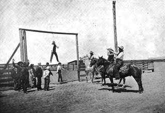 Horse theft - Oregon cowboys circa 1900 dramatizing the fate of a horse thief