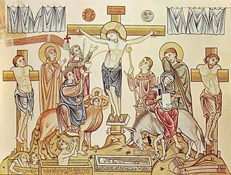 Crucifixion of Jesus - Crucifixion of Jesus of Nazareth, medieval illustration from the Hortus deliciarum of Herrad of Landsberg (12th century)