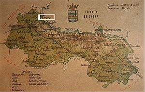 Borovo, Croatia - Borovo on map of Syrmia County from 1900