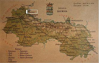 Borovo, Croatia - Borovo on map of Syrmia County from 1900