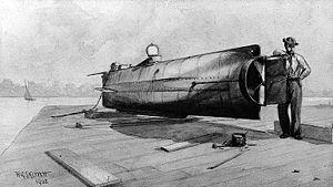 English: Confederate Submarine H.L. Hunley. Se...