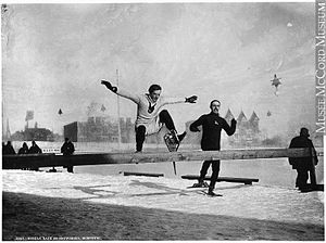 Montreal Snow Shoe Club - A hurdle race on snowshoes in Montreal, 1892; one of the array of individual events thought up by the MSSC from 1843