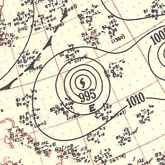 1951 Atlantic hurricane season - Image: Hurricane Easy surface analysis September 8 1951