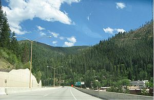 Interstate 90 - I-90 on the 1991 viaduct in Wallace, Idaho