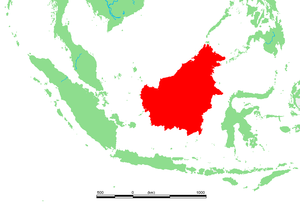 Lage von Borneo (Kalimantan)