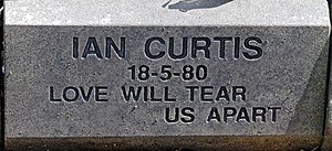 Love Will Tear Us Apart - Image: Ian Curtis post 2008 memorial stone at Macclesfield Cemetery